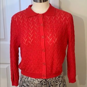 RED 3/4 SLEEVES CARDIGAN SWEATER